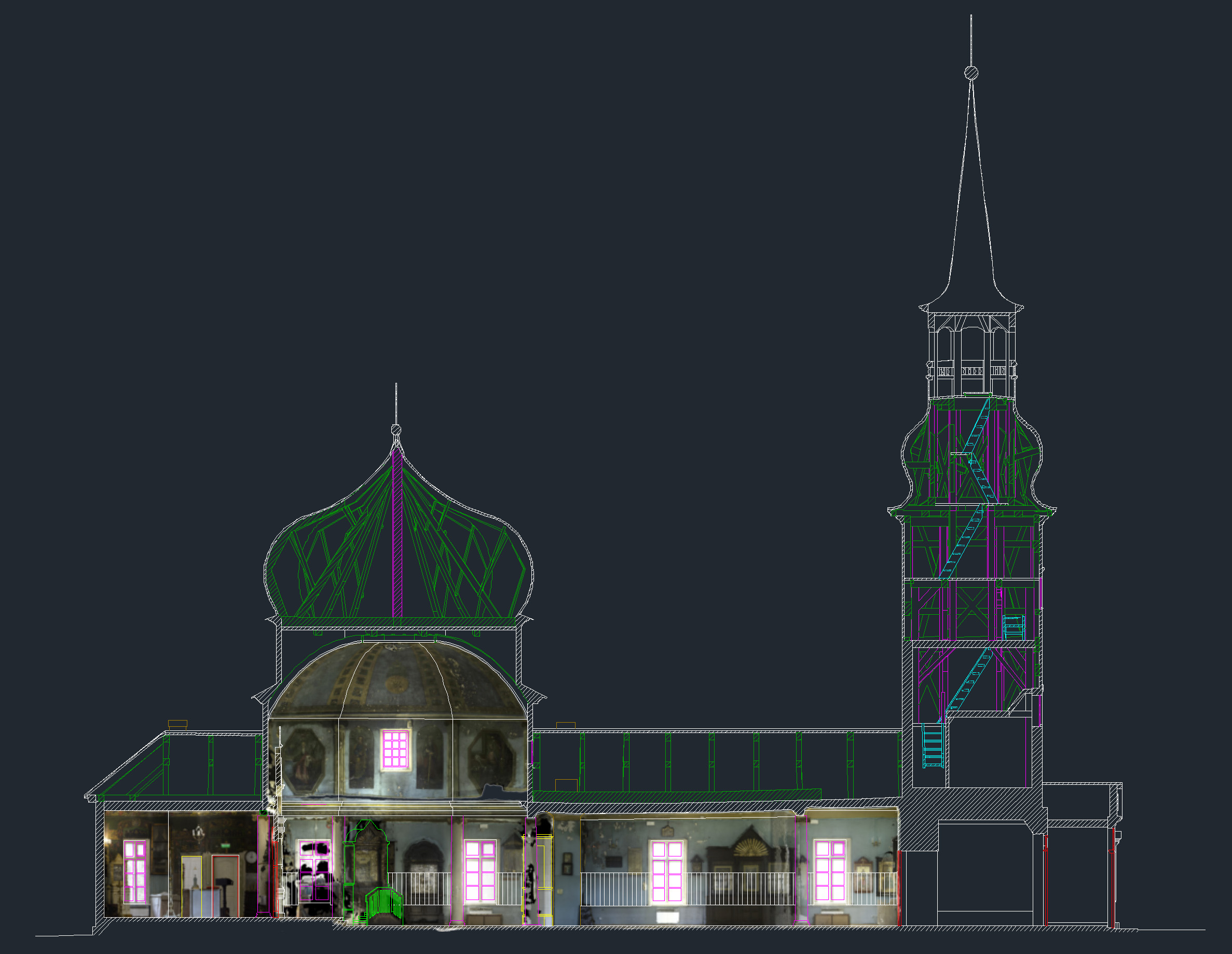 Kazan church model and orthographic photo