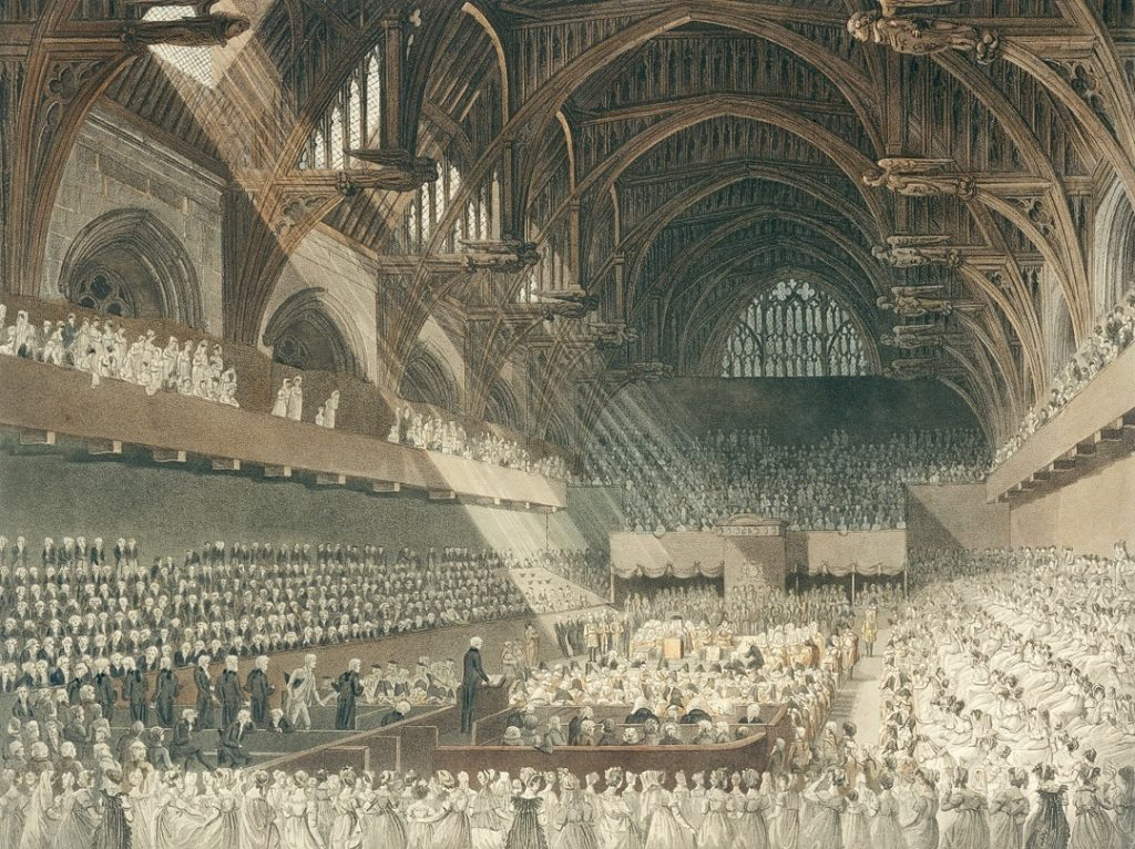 The Trial of Henry Lord Viscount Melville in Westminster Hall (published 1806), print by J. Hill after a drawing by Augustus Charles Pugin and John Claude Nattes. © Parliamentary Art Collection