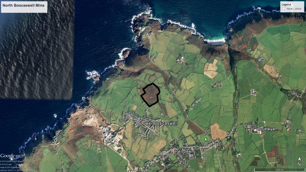 Pendeen and the surrounding area. The outline shows the area captured